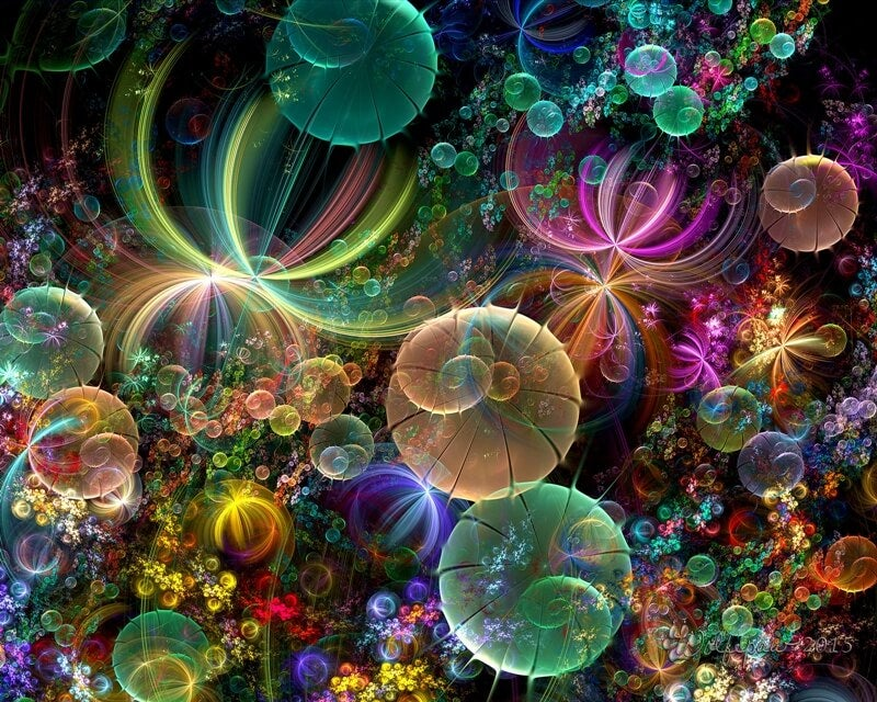 Many colorful bubbles with rainbow colors.