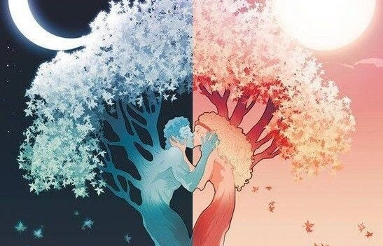 a couple as trees, day and night, kissing