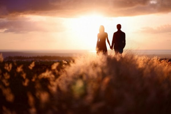 a couple in a field at sunset