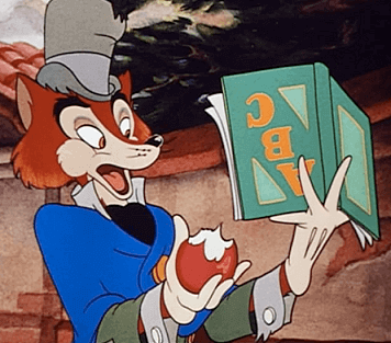 The fox reading a book upside down in Pinocchio
