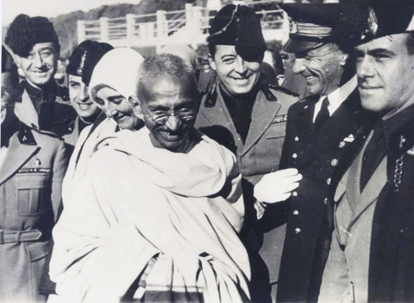 Gandhi with officials