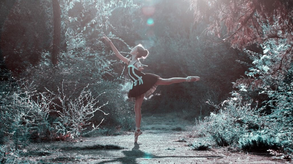 a ballerina in the forest