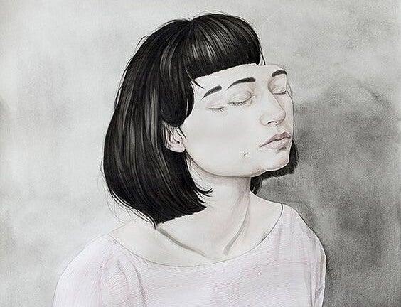 A girl has a double face.