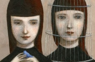 girl with cage on head