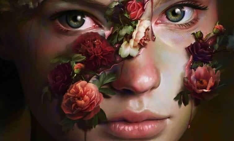 A girl with flowers coming out of her face.