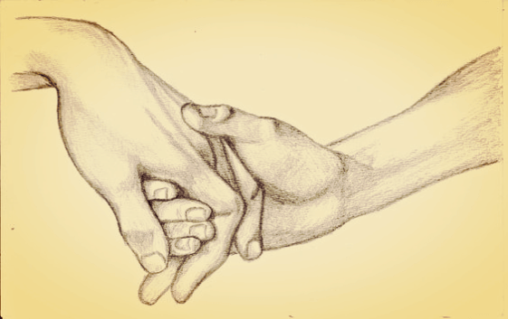 holding hands and helping