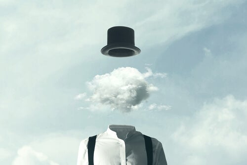 a man with a cloud as a head and a tophat