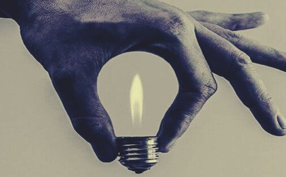 light bulb and candle