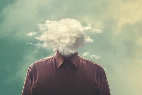 Obsessive thoughts as pictured by a man with a cloud for a head.