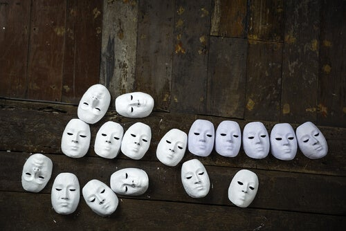 white masks on the floor