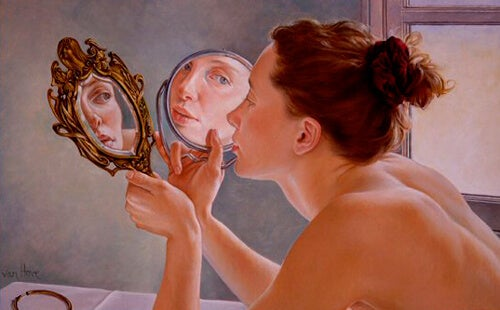 A woman thinking about narcissism and self-esteem.