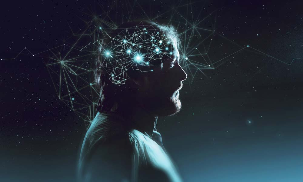 Neurons are connecting like constellations in a man's brain.