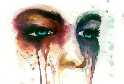 Watercolor crying.