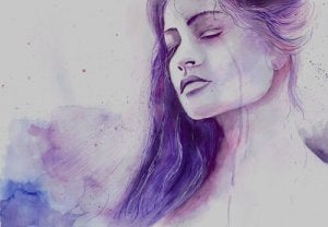 A purple woman with her eyes closed.