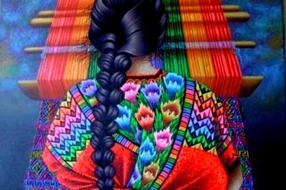 Weaving a colorful fabric.