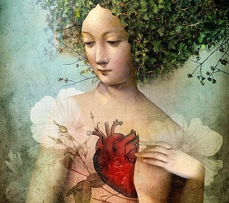 A woman looking thoughtful with a heart in her chest.