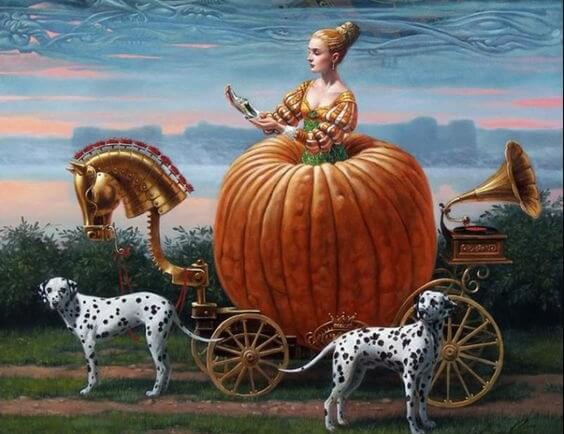 A woman in a pumpkin carriage with two dalmatian dogs.