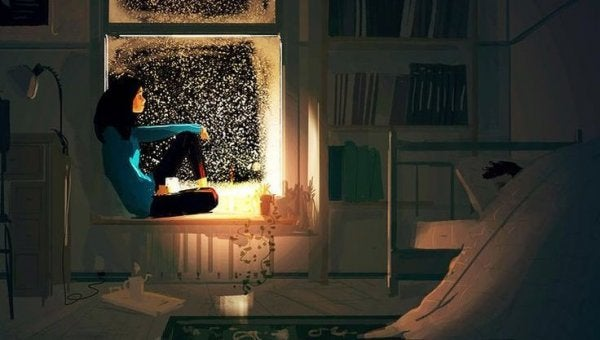 A cozy scene of a woman looking out the window at night into the snow, with a mug.