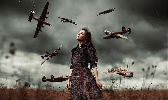 a woman and airplanes