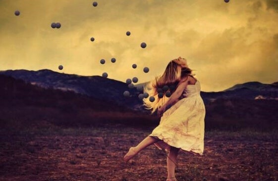 A woman leaping in freedom.