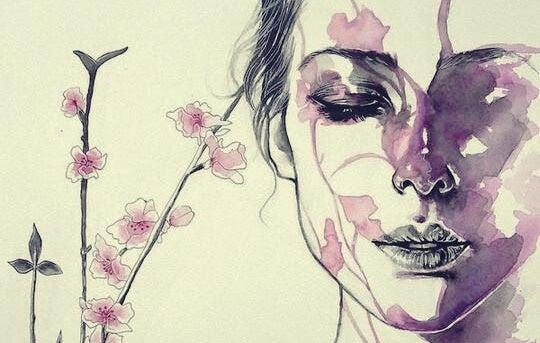 A woman with her eyes closed and lilac watercolor paint.