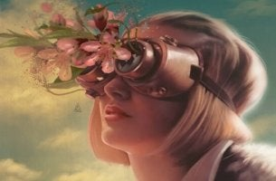 Woman with flowers coming out of her binoculars.