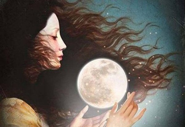 A woman and the moon.