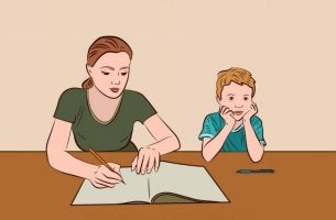 A mother is helping her son do homework.