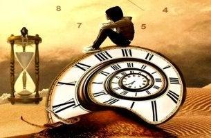 man sat on clock