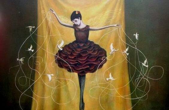 A ballerina is dancing with many birds.