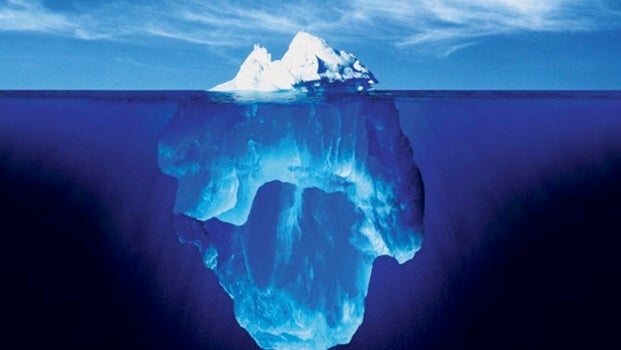 A big iceberg underwater.