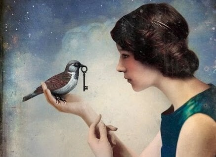 A woman and a bird with a key.