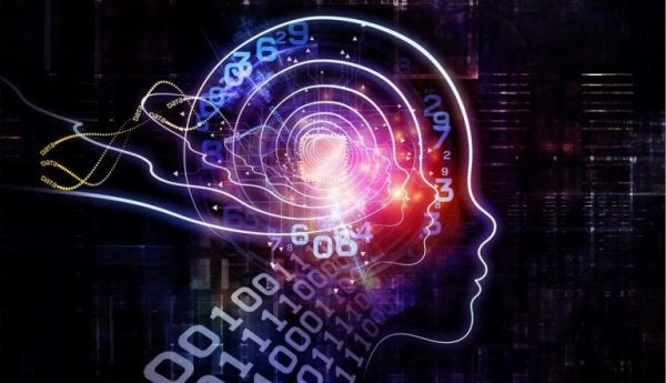 Neuro-linguistic programming as pictured by binary numbers and a brain.