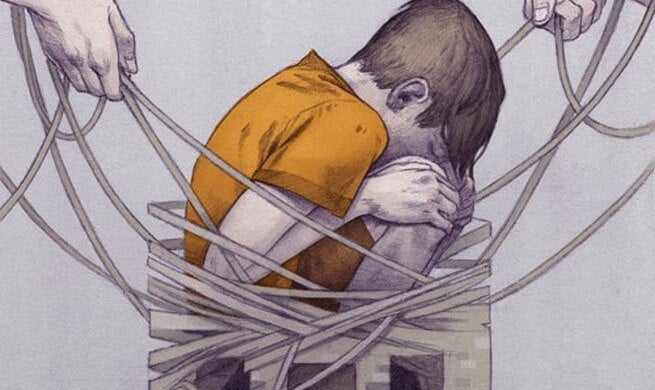 Child trapped in the web of corporal punishment.