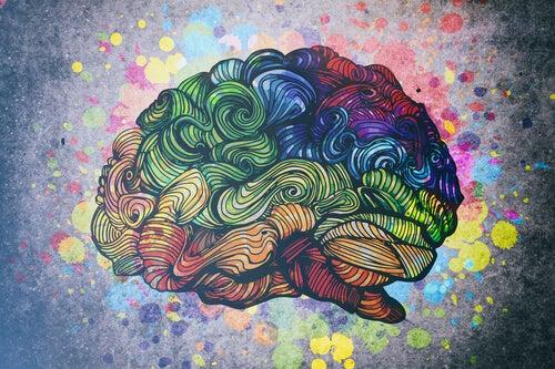 Colorful swirls on a brain.