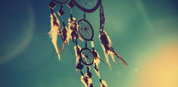 A dreamcatcher in the wind.