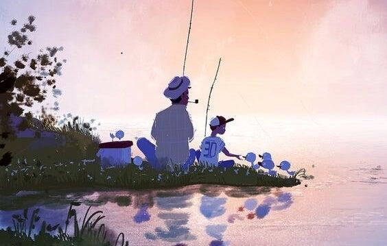 Pappa fiskar med son