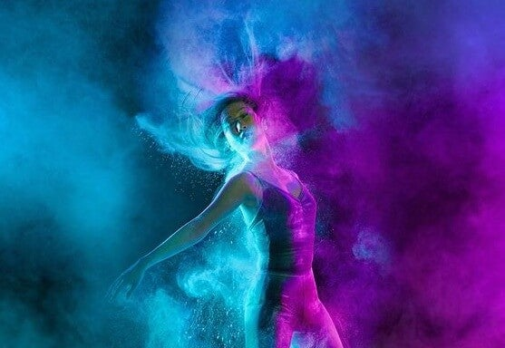 Dancing in blue and purple.