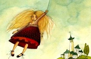 Girl flying tied to a cloud.