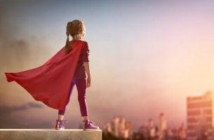 girl with superhero cape