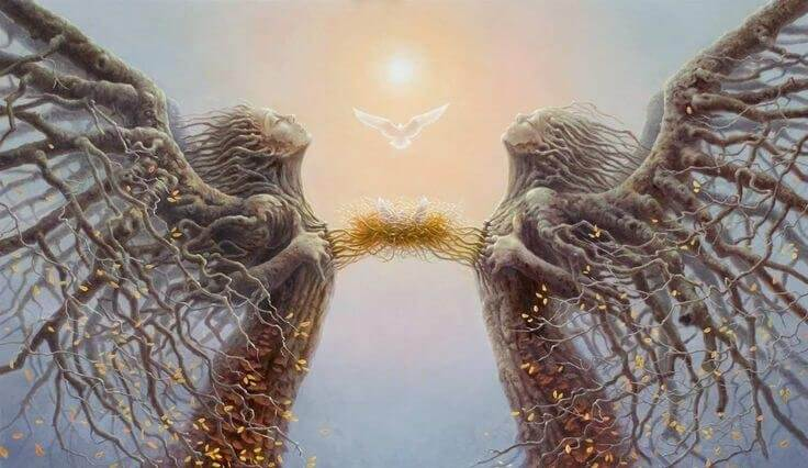Two tree angels connected at the heart.