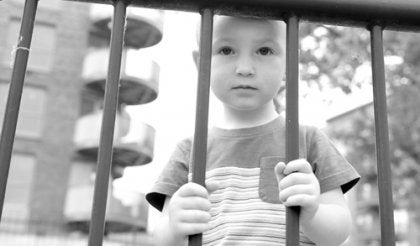 a child behind bars