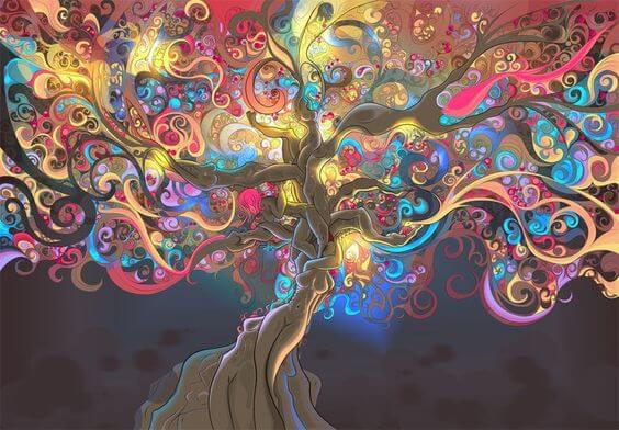 A magical, colorful tree.