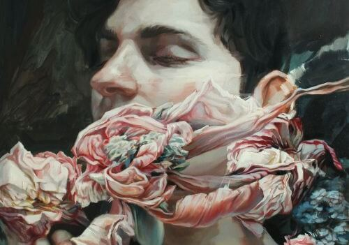 A man with flowers, eyes closed picturing blind spots.