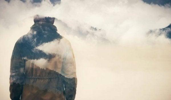man in clouds