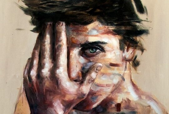 Painting of a man with his hand covering one eye.