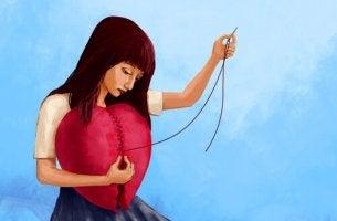 woman mending heart