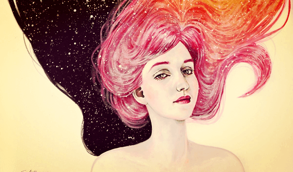 A teenager with a pink galaxy in her hair.