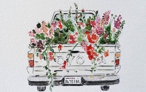 A truck filled with flowers.