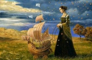 woman and ship